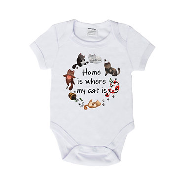 Baby romper play suit white with cats home is where my cat is image front view