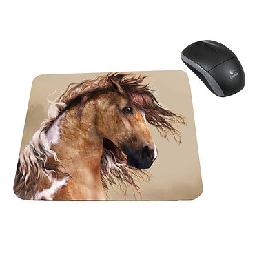 Neoprene computer mouse pad wild paint horse image front view