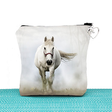 White cosmetic toiletry bag with zipper white horse in mist image front view