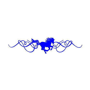 Cantering horse with scrolls decal sticker front view