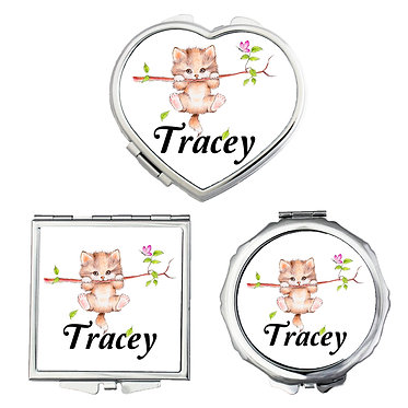 Compact mirrors three shapes round, square, heart personalized with name and white cute kitty on branch image front view