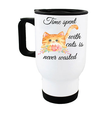 """Travel mug ginger cat and quote """"Time spent with cats is never wasted"""" image front view"""
