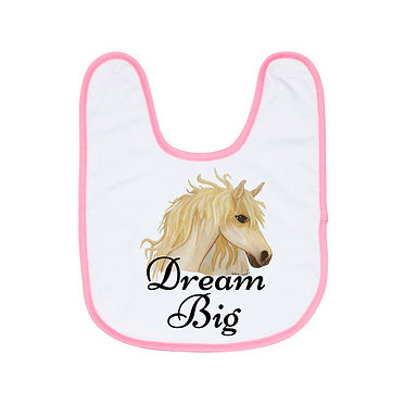Babies bib white and pink trim with hand painted horse and quote dream big image front view