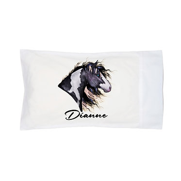 Personalised horse pillowcase black and white paint horse image front right facing view