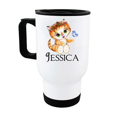 Travel mug with personalized cute kitty sitting and name image front view