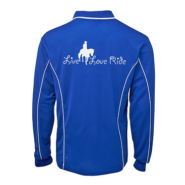 Adults long sleeve polo shirt royal blue white live love ride horse image back view