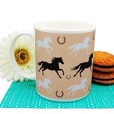 Pattern horse ceramic coffee mug front view