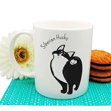 Dog themed coffee mug with Siberian Husky image front view