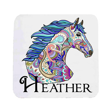 Personalised neoprene drink coaster sets personalised painted horse image front view