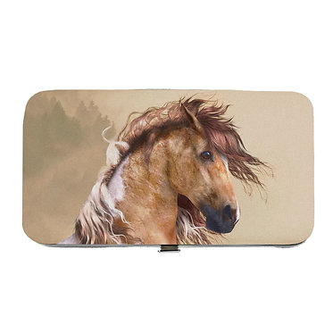 Ladies hard case purse wallet with mobile phone mount inside wild paint horse image view