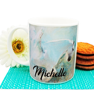 Personalised ceramic coffee mug angelic horse image front view