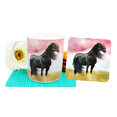 Black horse ceramic coffee mug and coaster set front view