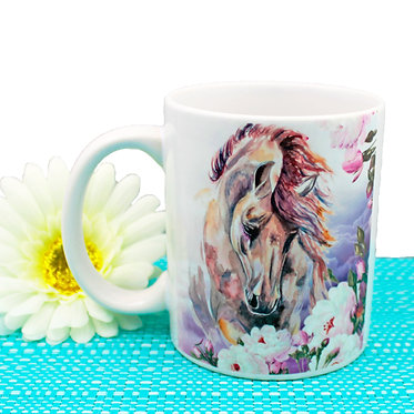Ceramic coffee mug horse with pink & purple flowers image front view
