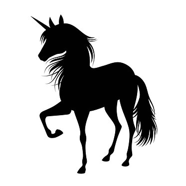 Unicorn standing with one leg raised vinyl decal sticker in black front view