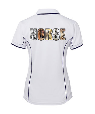 White with navy pipping ladies pipping polo top horse image back view