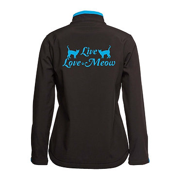 Ladies soft shell jacket black with aqua trim cat live love meow image back view