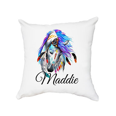 Personalised white cushion with zip spirit horse image front view