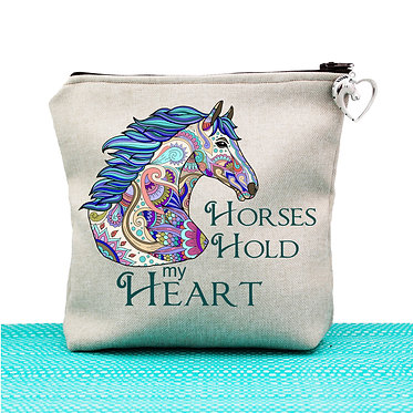 Tan cosmetic toiletry bag with zipper horses hold my heart image front view