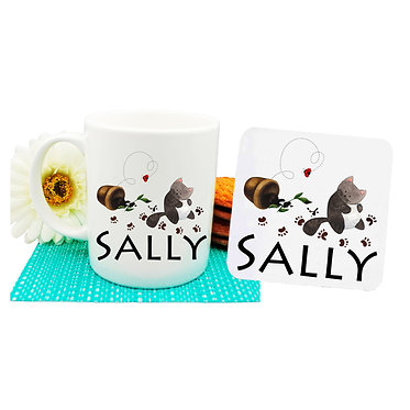 Ceramic coffee mug and drink coaster set personalized naughty cat image front view
