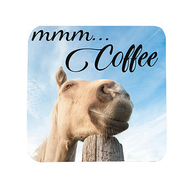 "Neoprene drink coaster with horse and quote ""Mmm... Coffee"" image front view"