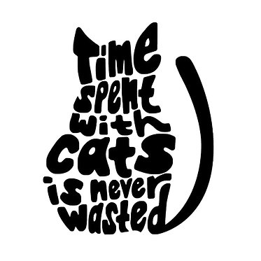 Cat vinyl decal sticker time spent with cats is never wasted front view