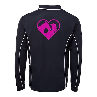 Adults long sleeve polo shirt black hot pink horse and girl in heart image back view