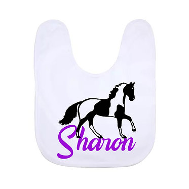 Babies bib personalised white with paint horse image in purple front view