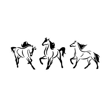 Three horses in a row decal sticker front view