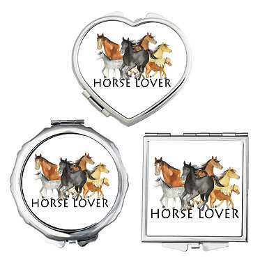 Compact mirrors in 3 shapes heart, round and square horse lover image front view