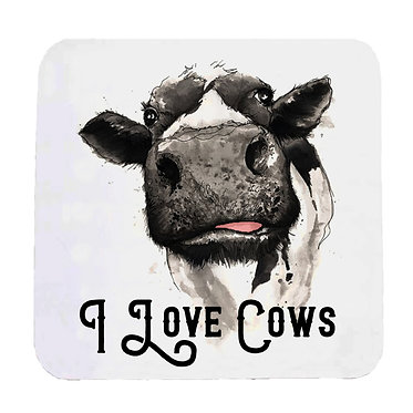Neoprene drink coaster white i love cows front view