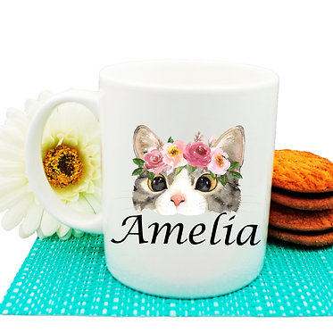 Ceramic coffee mug personalized cat face with flowers name image front view