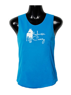 Aqua with white image horse crazy ladies singlet top front view