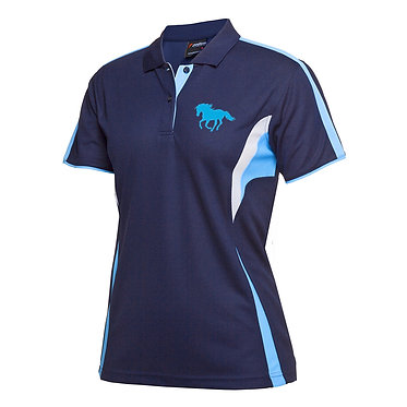 Ladies cool polo shirt navy aqua horse power image front view