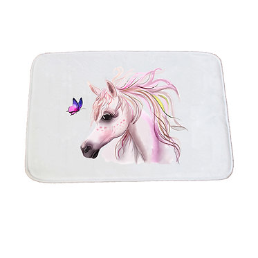 Non-slip bath mat white horse and butterfly image front view