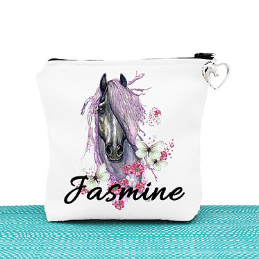 White cosmetic toiletry bag with zipper personalised purple horse image front view