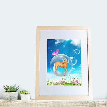 Rectangle wood picture frame fantasy unicorn in bubble image front view