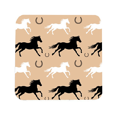 Pattern horse square neoprene drink coaster front view