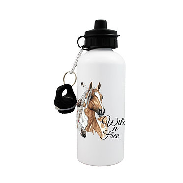 Sports water bottle paint horse wild n free image front view lid on