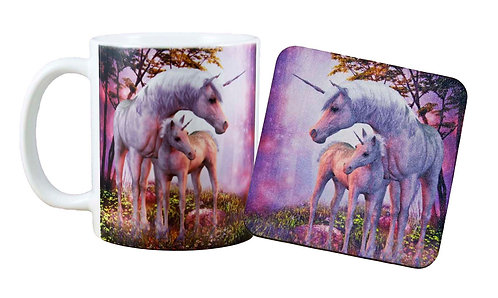 Pink Unicorn Mug & Coaster Set Front View