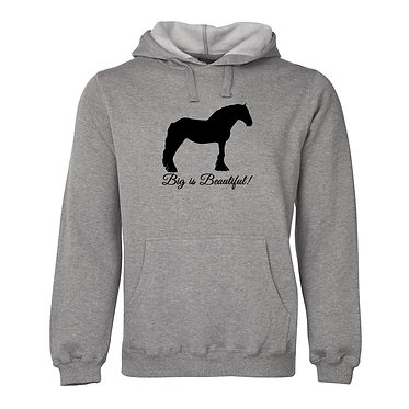 Hoodie jumper adults grey merle big is beautiful heavy horse image front view