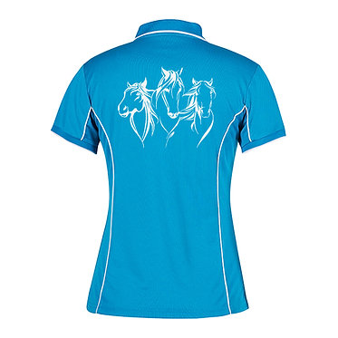 Ladies horse pipping polo shirt aqua white three beautiful horses image back view