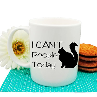 "Ceramic coffee mug black cat ""I can't people today"" image front view"