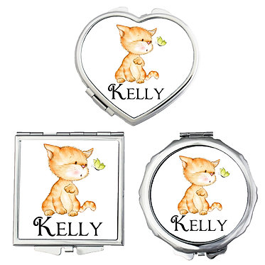 Compact mirrors three shapes round, square, heart personalized with name and white cute kitty and butterfly image front view