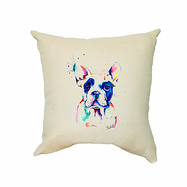 Tan cushion cover with zip painted rainbow dog great dog gift front view
