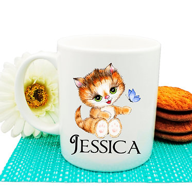 Ceramic coffee mug personalized cute kitty sitting name image front view