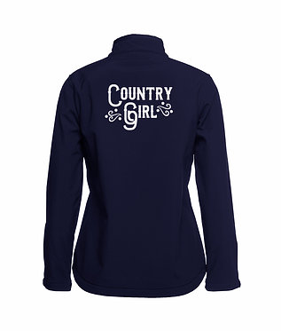 Navy country girl softshell jacket back view