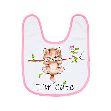 Babies bib with pink trim and I'm cute kitty image front view