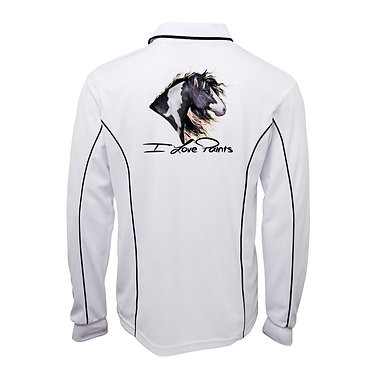 Adults long sleeve polo shirt white I love paints image back view