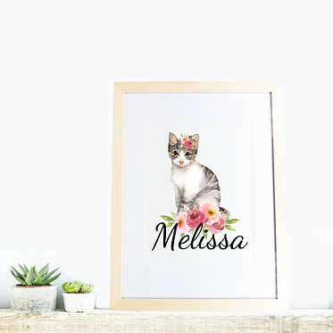 Rectangle wood picture frame personalized with cat with flowers image front view