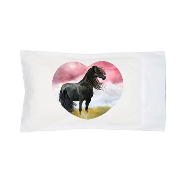 Pillowcase white with black horse image front right view